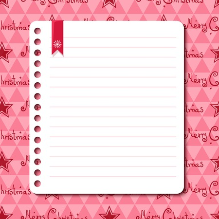 rounded edges: Christmas vector background with space for text in the form of a sheet torn from a notebook