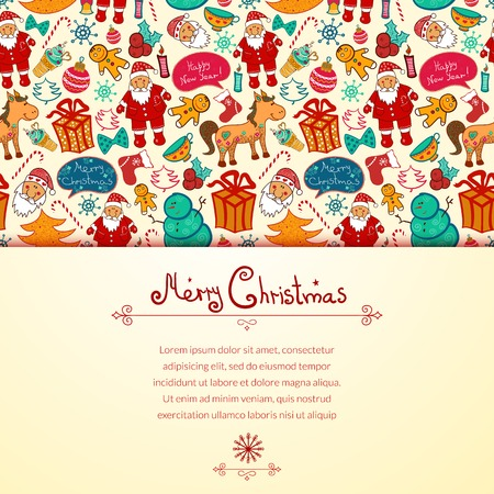 Christmas vector seamless pattern with colorful doodle elements and horizontally space for text Vector