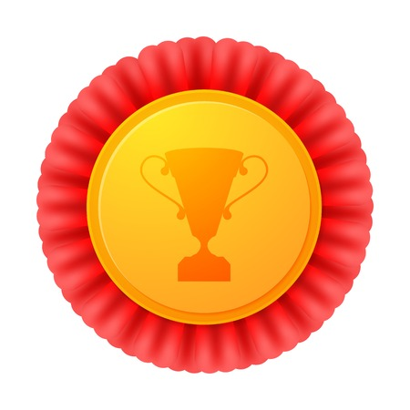 Vector medal, realistic golden label with red ribbons and image of cup Vector