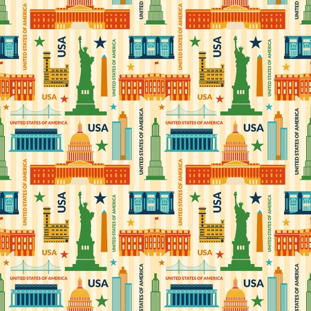 saemless: Landmarks of United States of America vector colorful seamless pattern Illustration