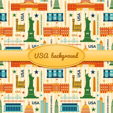 obelisk: Landmarks of United States of America vector colorful background with ribbon and label with space for text Illustration