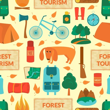 camping equipment: Camping equipment, forest tourism, vector colorful  seamless pattern in flat style