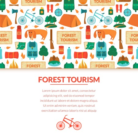 camping equipment: Camping equipment, forest tourism, vector colorful  background in flat style with space for text Illustration