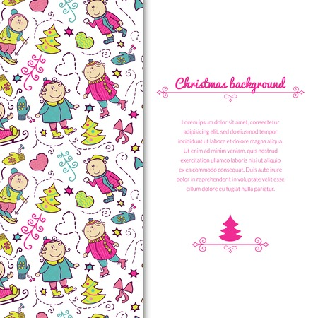 Christmas background with doodle funny children and vertically space for text, winter recreation Vector