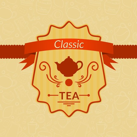 Retro vector tea label with ribbon on beautiful background Vector