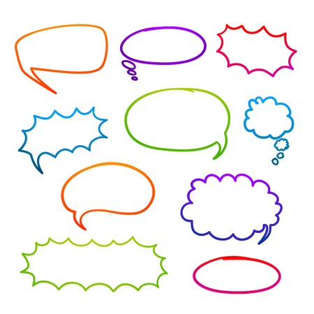 Set of empty graphic comics speech bubbles, vector templates for your text on green background