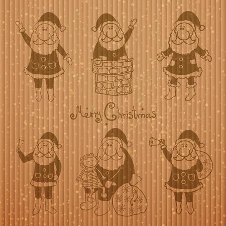 illustration collection: Doodle santa claus set, vector illustration collection