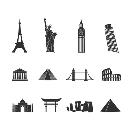 Eiffel Tower: World landmarks abstract black and white icons set