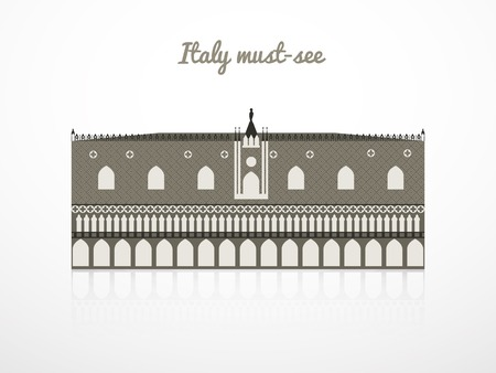 doges: Doges Palace vector illustration, Italy landmarks