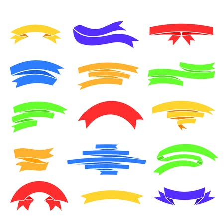Vector colorful ribons set, isolaten on white background, illustration in flat style Vector