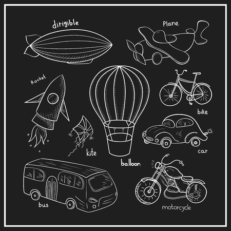 Sketches means of transport, black and white vector illustration Vectores
