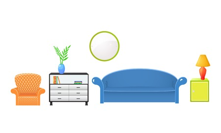 Set vector elements furniture isolated from the background in realistic style Vector