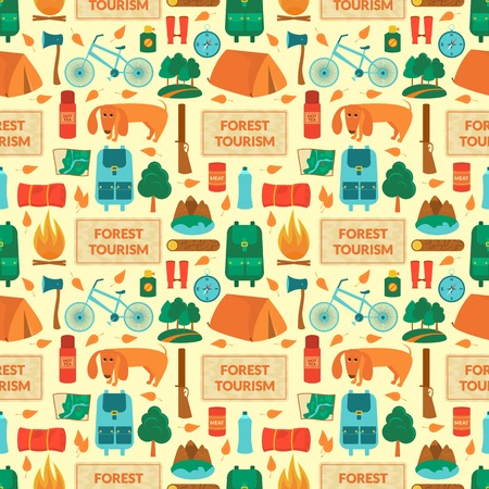 summer dog: Camping equipment, forest tourism, vector colorful  seamless pattern in flat style