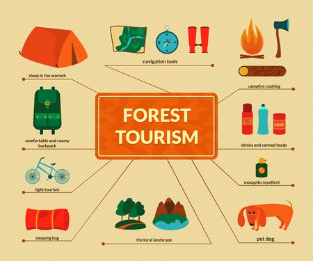 summer season: Camping equipment, forest tourism, vector colorful infographics in flat style