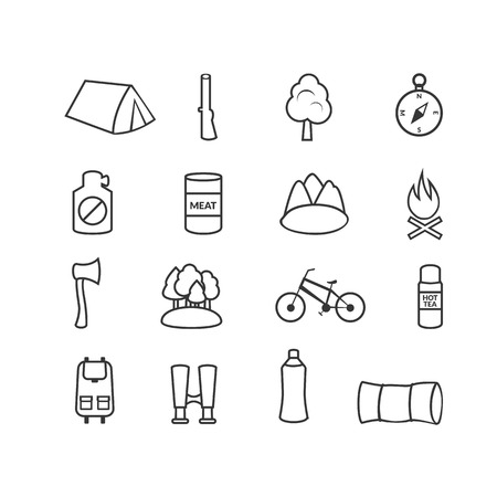 Camping equipment, forest tourism, vector outline icons set in flat style Vector
