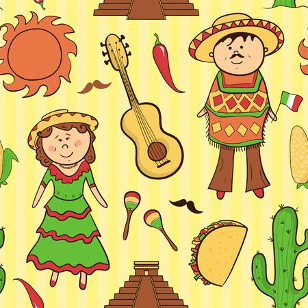 Mexican culture vector seamless pattern in cartoon style Vector