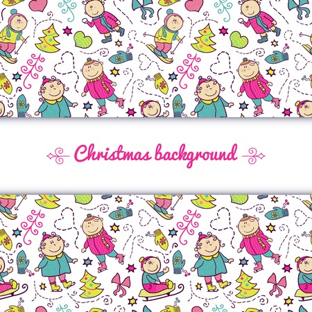 Christmas background with doodle funny children and central space for text, winter recreation Vector