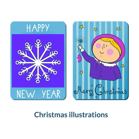 Chrismas labeles in doode style, vector holiday illustration Vector