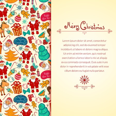 Christmas vector seamless pattern with colorful doodle elements and vertically space for text Vector