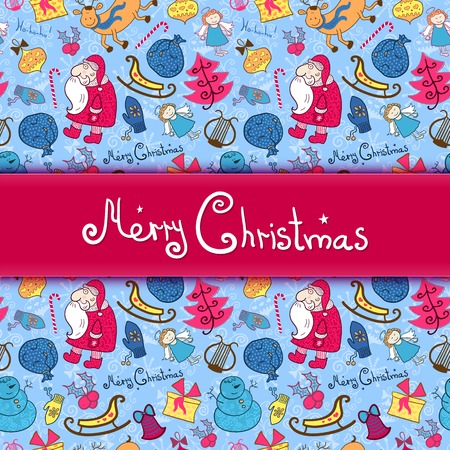Christmas vector colorful seamless pattern with doodle elements and central space for text Vector