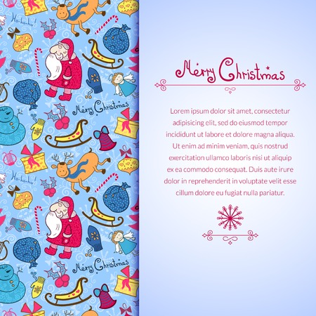 Christmas vector colorful seamless pattern with doodle elements and vertically space for text Vector