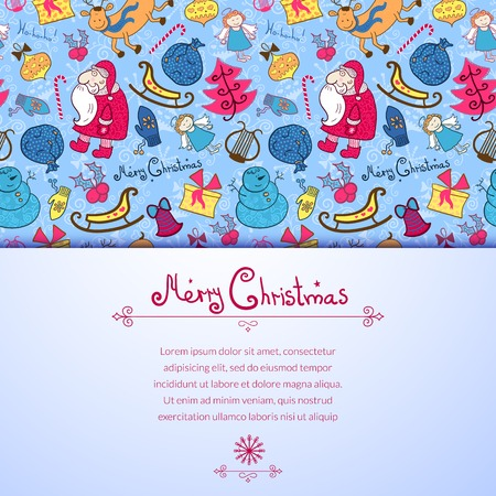 Christmas vector colorful seamless pattern with doodle elements and horizontally space for text Vector