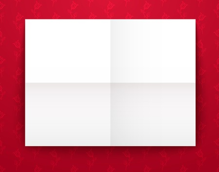 Empty old sheet of paper folded in fourfold on red background, template for design Vector