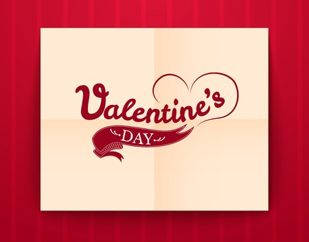 Valentines Day typography on paper poster, vector illustration Vector