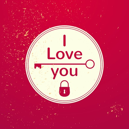 Valentines Day typography, vector illustration, vintage lettering emblem on grunge background Vector