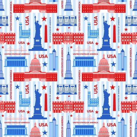Landmarks of United States of America vector colorful seamless pattern Illustration