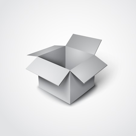 3d vector open grey box in a realistic style Vettoriali