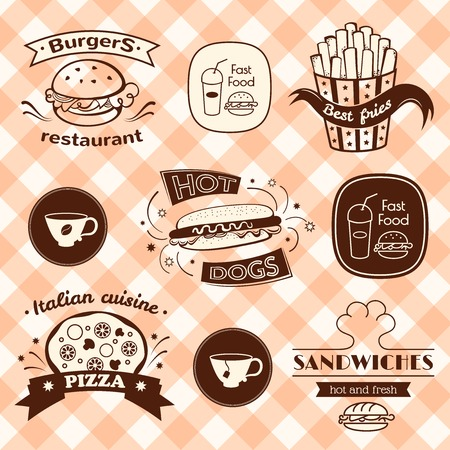 Fast food signs set, retro typography, restaurant logos Vector