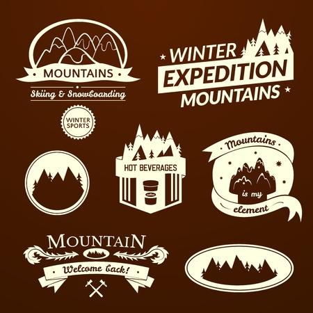 travel logo: Mountain logo and label set, typography design, retro vector illustration
