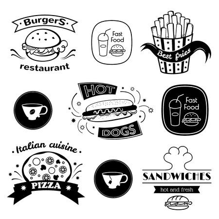 saludable logo: Signos de preparaci�n r�pida fijados, tipograf�a retro, logotipos restaurante Vectores