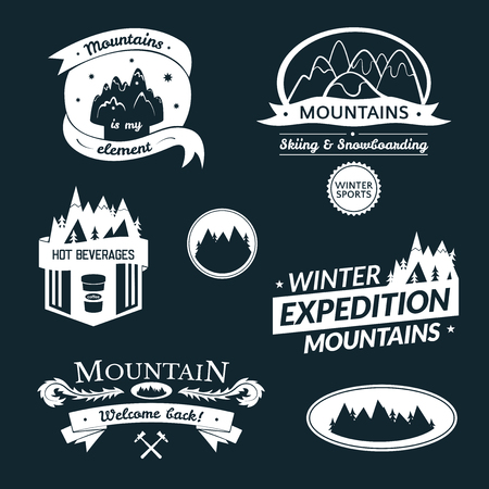 Mountain logo and label set, typography design, retro vector illustration