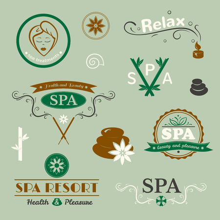beauty woman: SPA logos, vector typography, wellness labels set