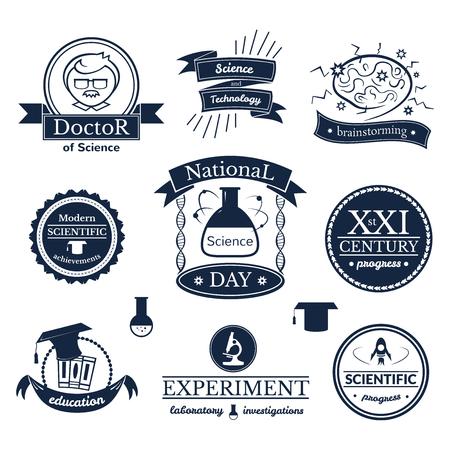 logo medicina: Signos ciencia y conocimiento establecidos, tipograf�a retro, logotipos vectoriales