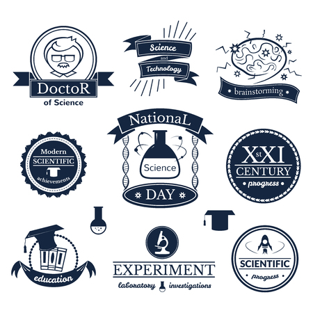 Science and knowledge signs set, retro typography, vector logos Illustration