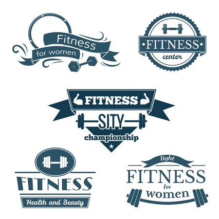 Fitness signs set, sport logos and labels Vettoriali