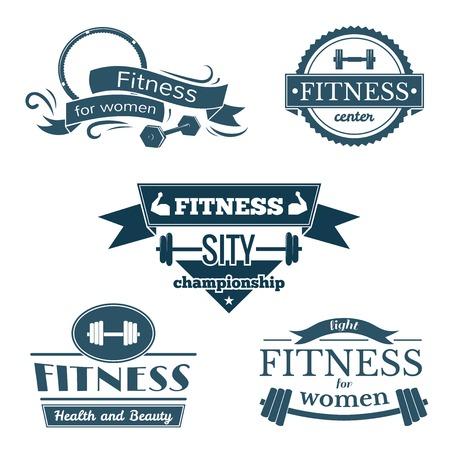 saludable logo: Signos Gimnasio establecidos, logotipos deportivos y etiquetas