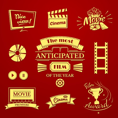 retro tv: Movie signs set, cinema logos and film labels