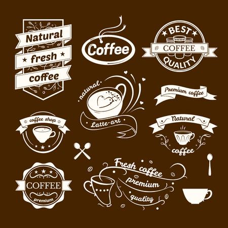 Coffee signs set, retro typography, business restaurant logos
