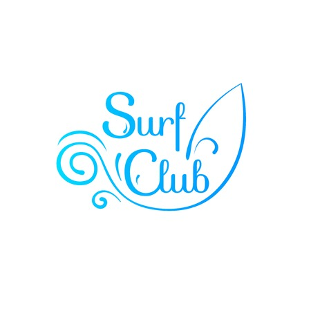 Summer sign, surf club, retro typography, sea and beach logo