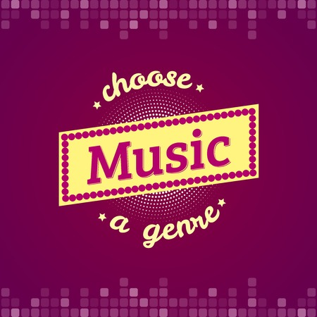 genre: Choose music a genre, music label, logo with headphones, vector typography Stock Photo