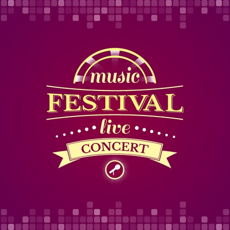 live concert: Music festival live concert, music label, logo with headphones, vector typography
