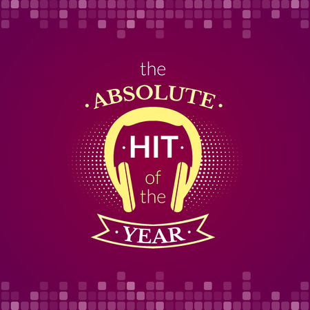 genre: The absolute hit of the year, music label, logo with headphones, vector typography Stock Photo