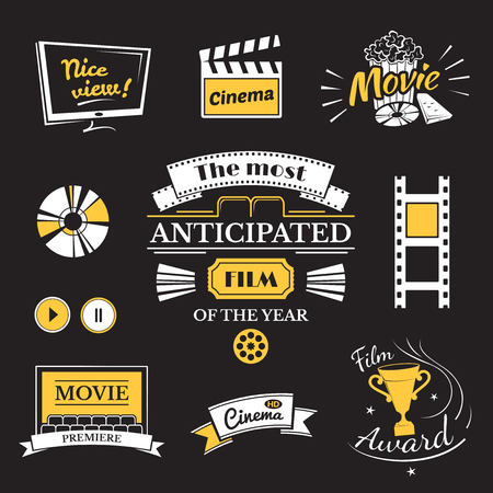 movie and popcorn: Movie signs set, cinema logos and film labels on black background