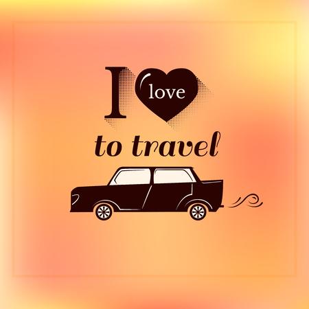 Travel log, I love to travel, typography label design, trip vector illustration on orange background Stok Fotoğraf