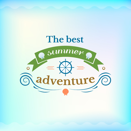 sea water: Summer colorful sign, the best summer adventure, retro typography, sea and beach logo on water background