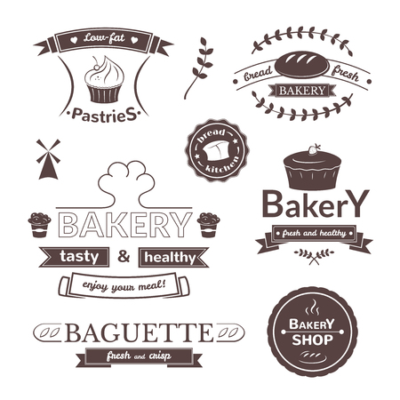 bakery products: Bakery signs set, retro typography, pastries logos